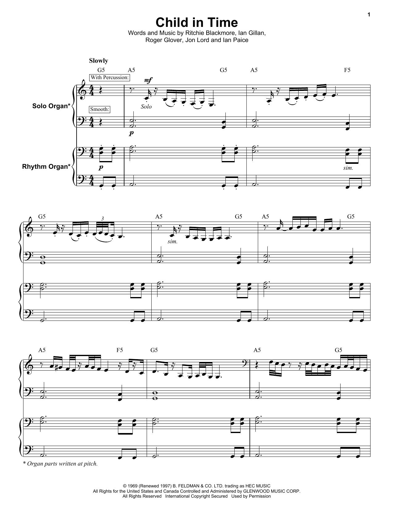 Deep Purple Child In Time Sheet Music Notes Chords