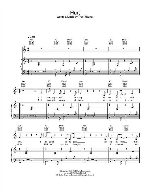 Hurt Piano Chords : piano, chords, Johnny,
