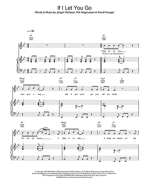 Chord If I Let You Go : chord, Westlife, Sheet, Music, Notes,, Chords, Score, Piano,, Vocal, Guitar, Download, Printable., 13676