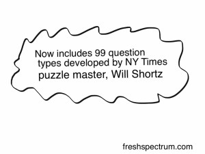 Fresh Spectrum Cartoon that states the survey question types were developed by a puzzle master