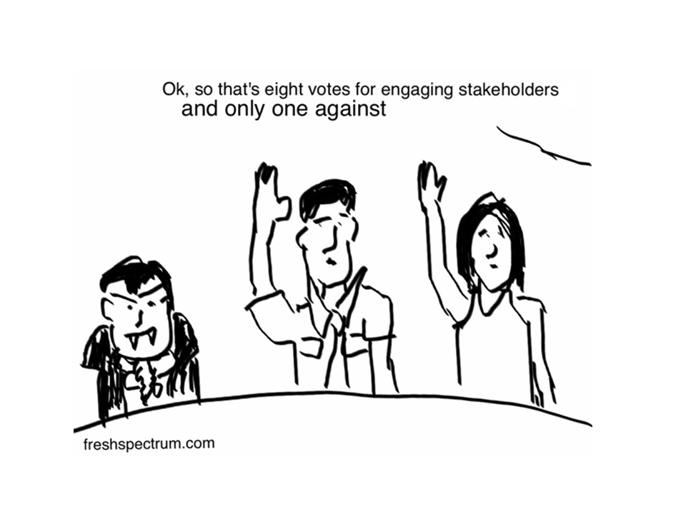 Engaging stakeholders with 7 cartoons, including 6 new ones