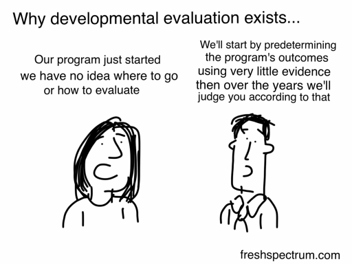 Why developmental evaluation exists cartoon by Chris Lysy