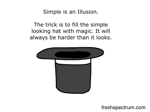 Simple is an illusion cartoon by Chris Lysy