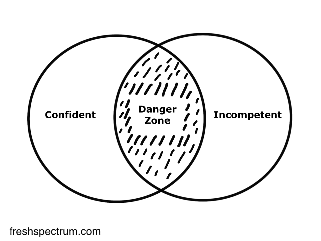 Confident incompetent danger zone cartoon by Chris Lysy