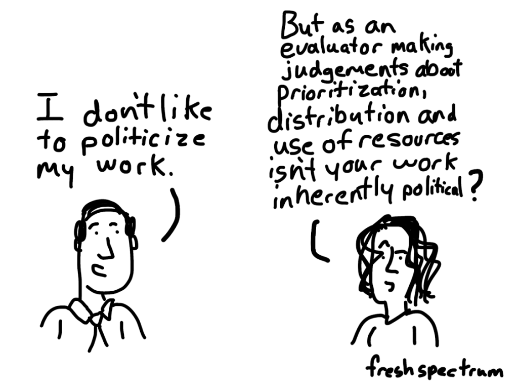 Cartoon - I don't like to politicize my work.  But as an evaluator isn't your work inherently political.
