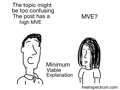 Cartoon. The topic might be too confusing. The post has a high MVE. MVE? Minimum Viable Explanation.