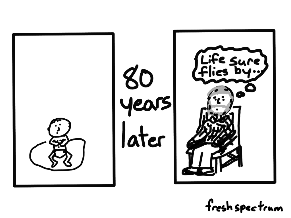 "Cartoon of a baby...80 years later...An old man thinks...""Life sure flies by""."