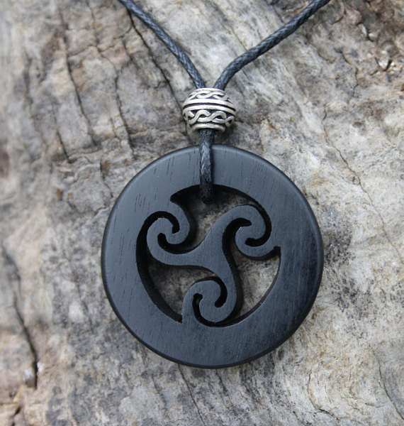 Hand carved ebony celtic triskele necklace aloadofball Image collections