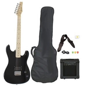 Davision Guitars Full Size Black Electric Guitar with Amp Case and Accessories