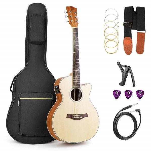 Vangoa Spruce wood Cutaway Electric Folk Guitar Travel Guitar
