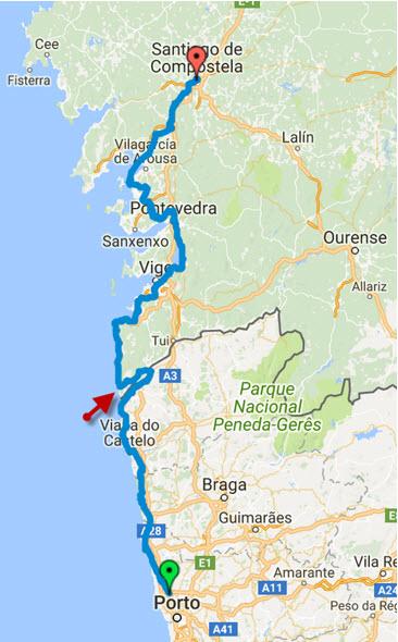 Camino Portugues Karte.Camino Portugues Da Costa Der Portugiesische Küstenweg Teil 1