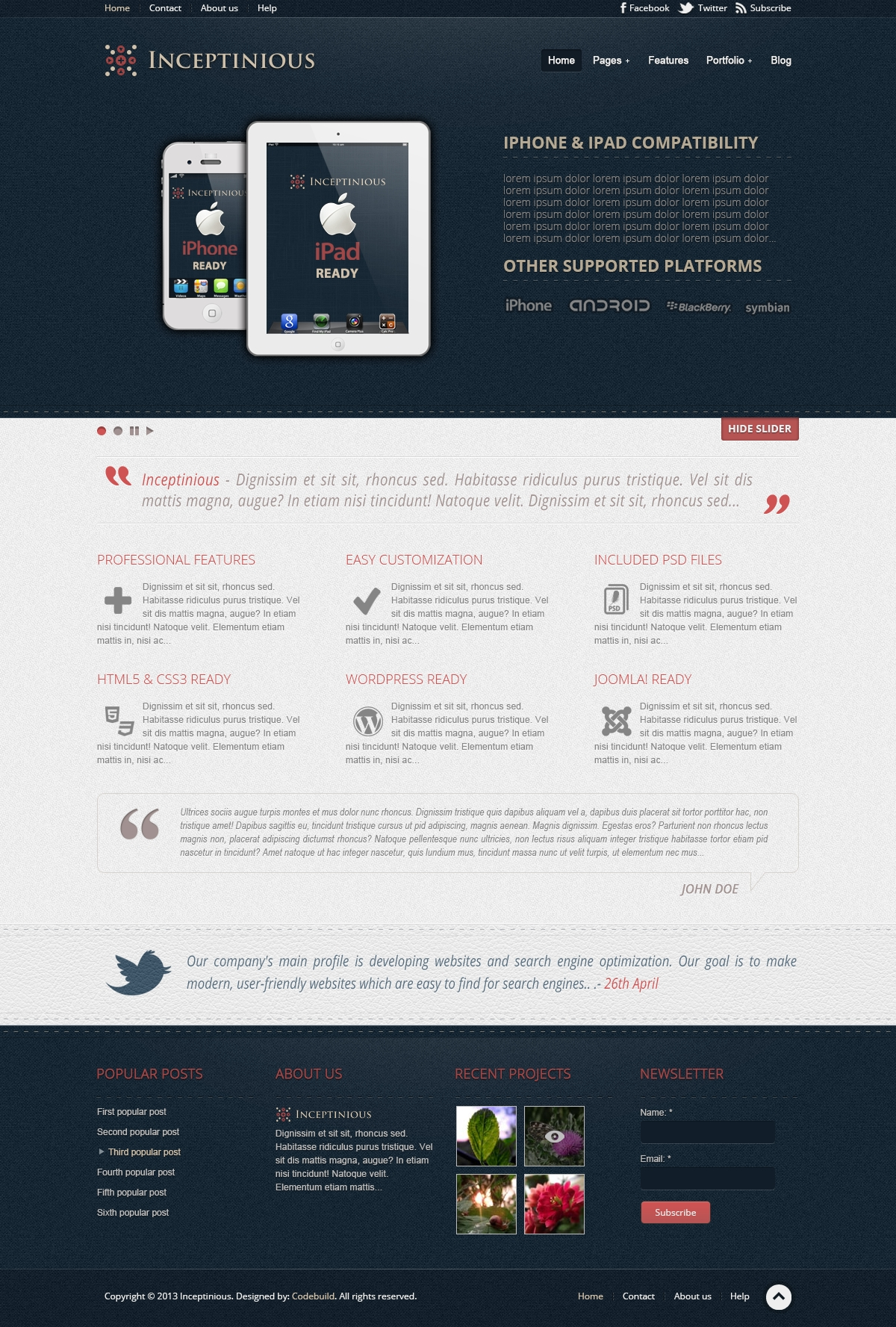 inceptinious business website template freebies fribly. Black Bedroom Furniture Sets. Home Design Ideas
