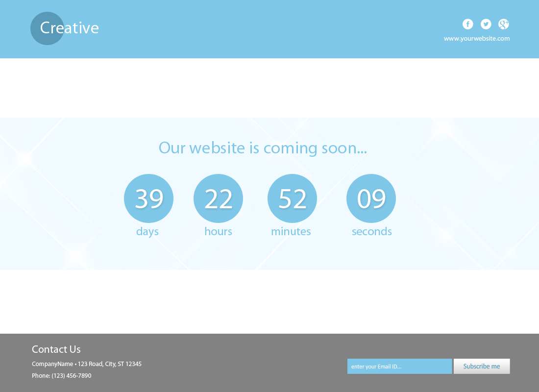 Flat Coming Soon Template Freebies Fribly