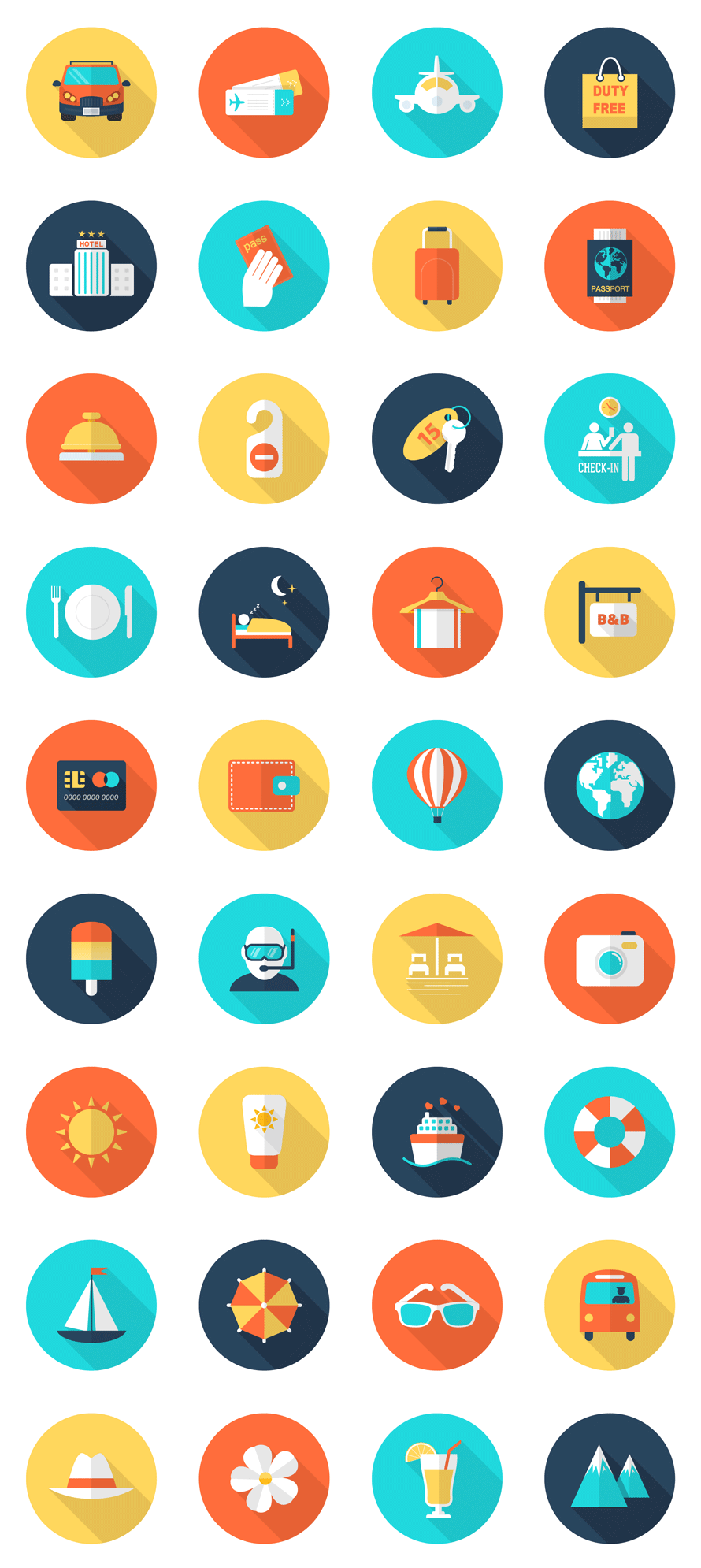 Travel and Vacation Icon Set - - Fribly