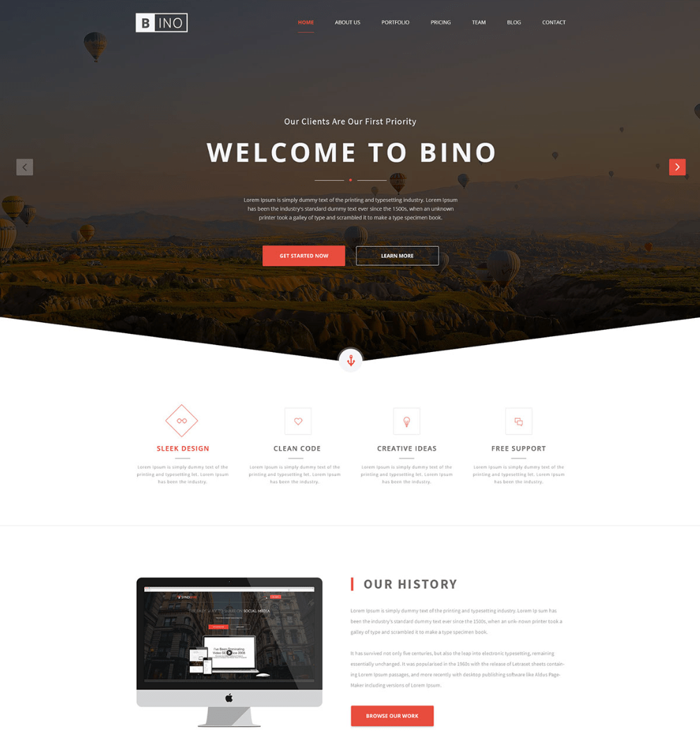 bino free landing page website template fribly. Black Bedroom Furniture Sets. Home Design Ideas