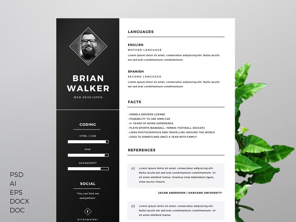 Free Resume Template For Word Photoshop Illustrator Freebies