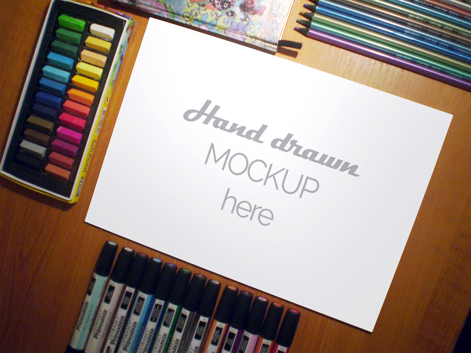 Free Sketch Artistic Mockup - Freebies