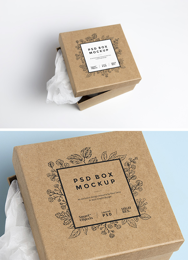 Download Free Cardboard Box MockUp - Freebies - Fribly