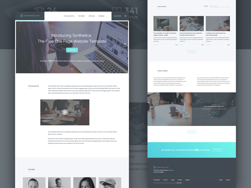 synthetica one page website template freebies fribly. Black Bedroom Furniture Sets. Home Design Ideas