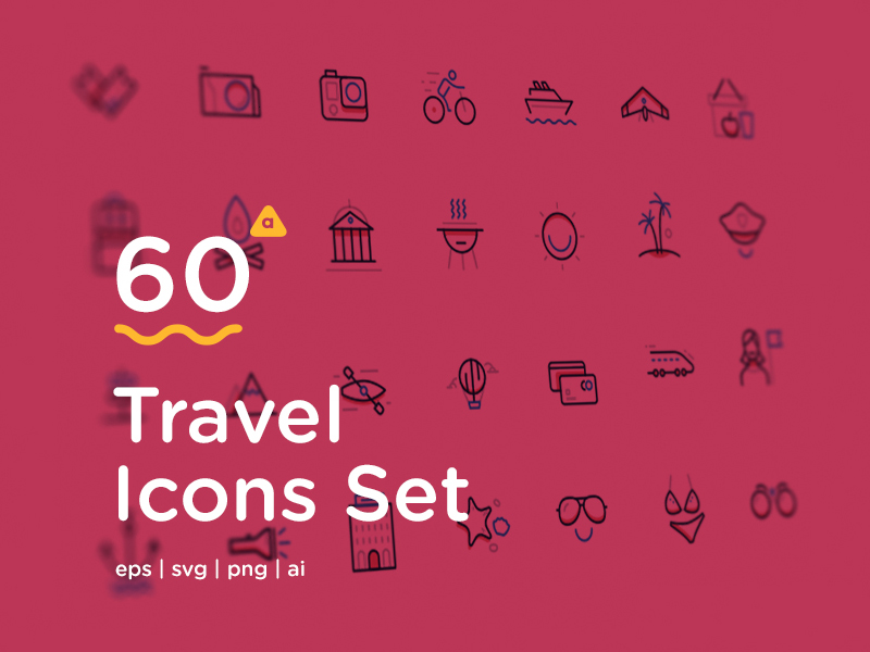 Free Vector Travel Icon Set - Exclusive - Fribly