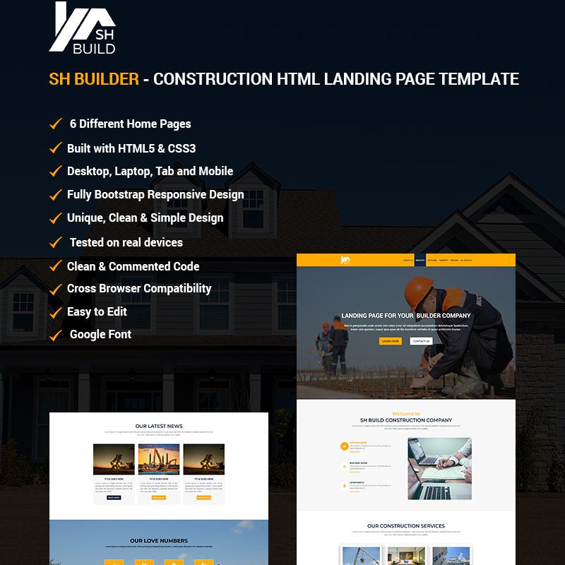 SH BUILDER - Construction HTML Landing Page Template