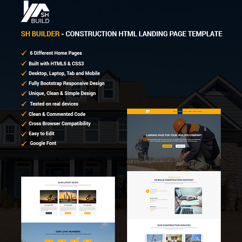 SH BUILDER - Construction HTML Landing Page Template