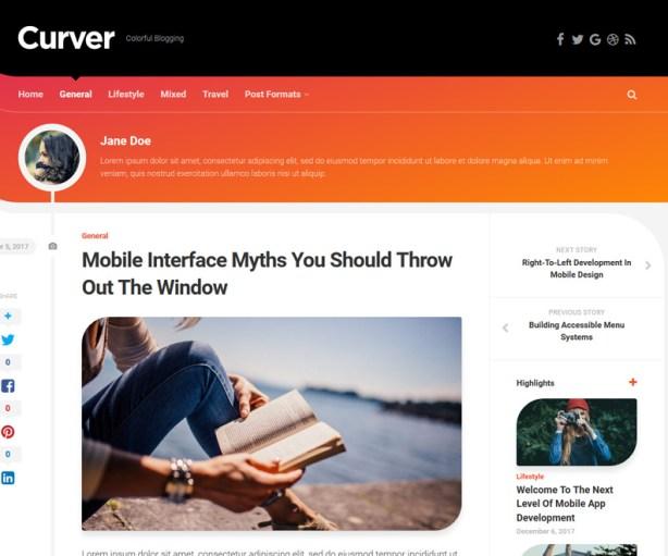 Curver Free Personal Blog WordPress Theme
