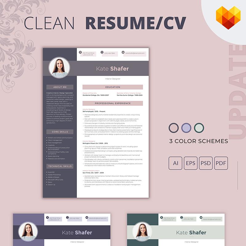 CV - Kate Shafer - Interior Designer Resume Template