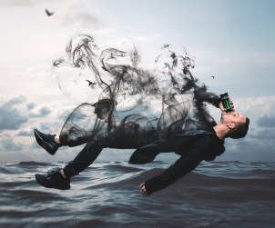 Floating Man with Smoke Effect