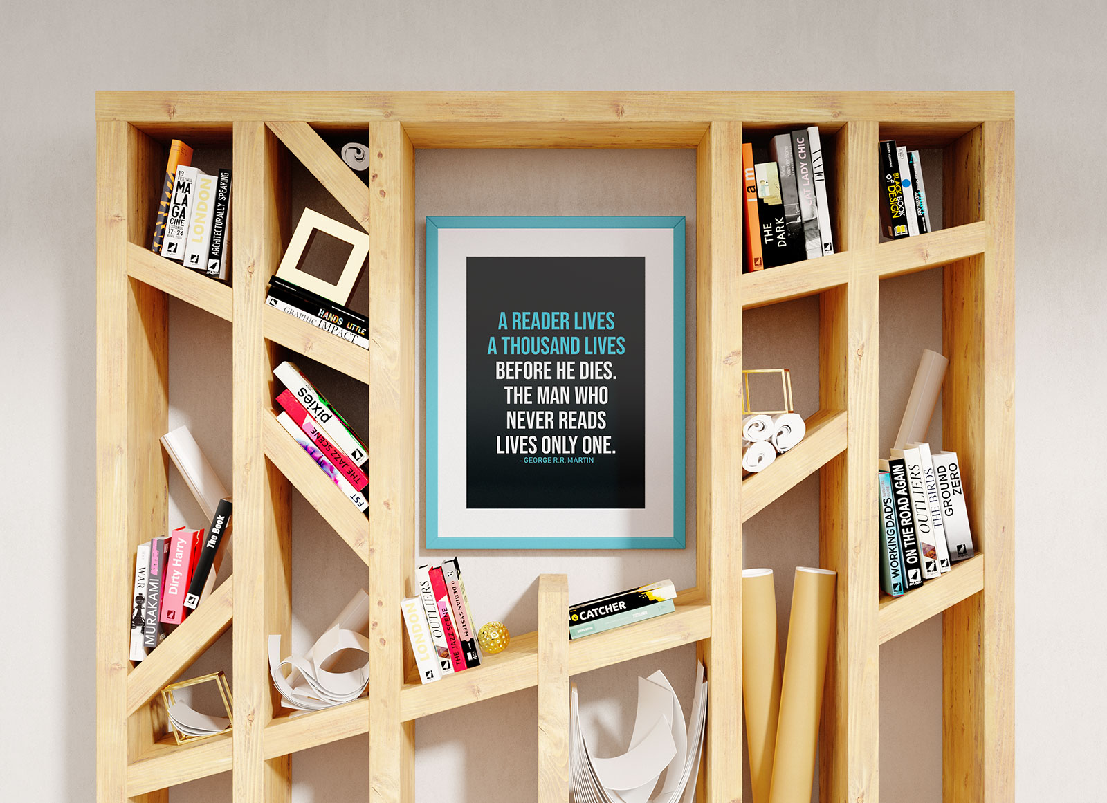 Poster Mockup In Book Shelf