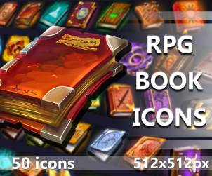50 Free RPG Book Icons