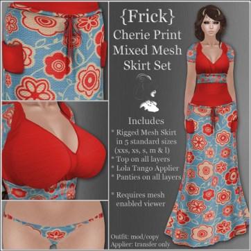 {Frick} Cherie Print Mixed Mesh Skirt Set