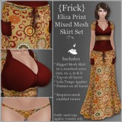 {Frick} Eliza Print Mixed Mesh Skirt Set