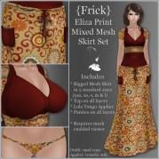 {Frick} Eliza Print Mixed Mesh Skirt Set