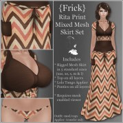 {Frick} Rita Print Mixed Mesh Skirt Set