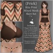 {Frick} Rita Print Mixed Mesh Skirt Set