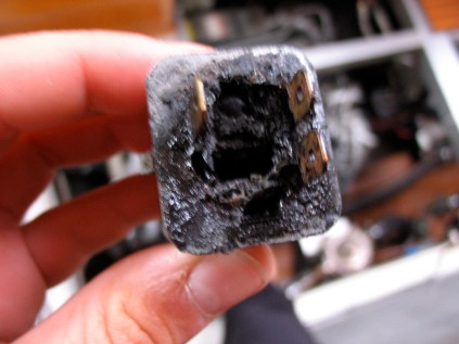 The cause of the fire under the engine.