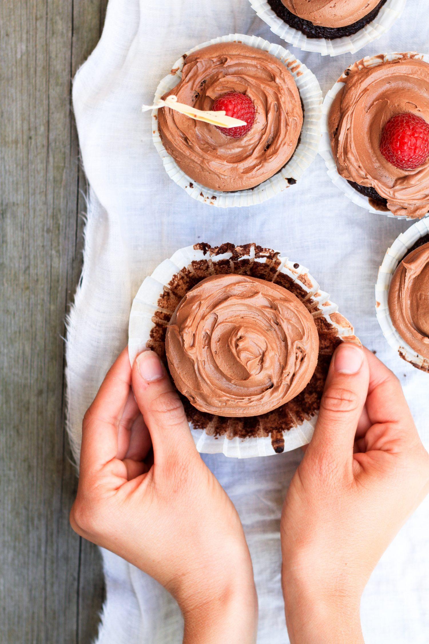 chokladmuffins med chokladfrosting