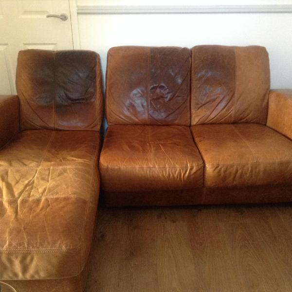 leather sofa brown dfs arm protector covers used 3 seater with chaise longue in ...