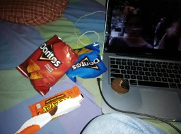 This pathetic platter was my late-night staple. Louie on the laptop and Doritos all over my face sounds really sad, but I promise it's awfully relaxing after a long day at work.