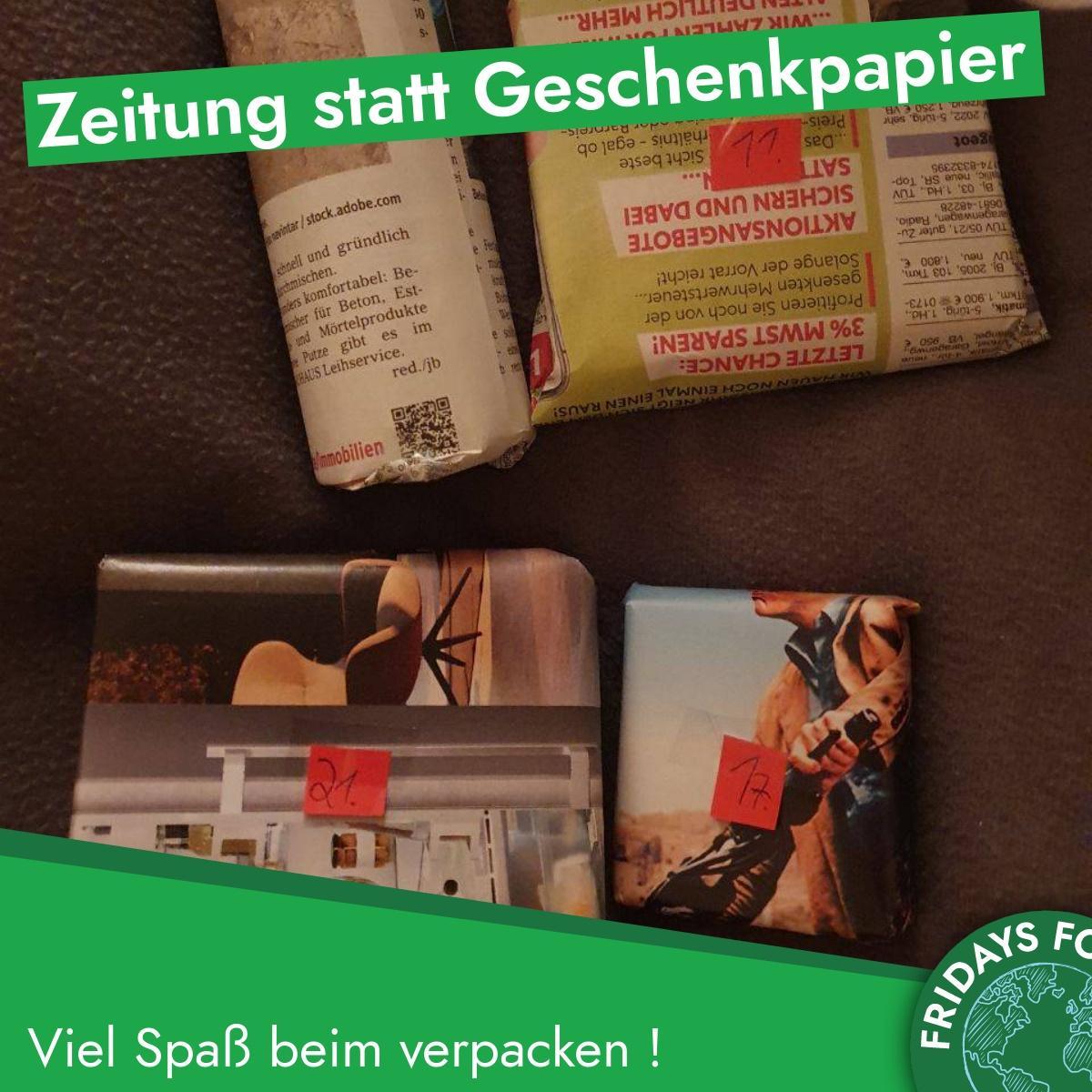 Türchen 19: Zeitungspapier, anstatt Geschenkpapier