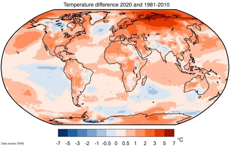 Temperature difference 2020 and 1981-2010