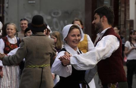 Vilnius ethnic festival parade.