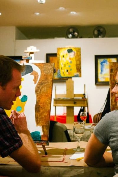 Art of Merlot – Klimt's The Kiss Painting Class