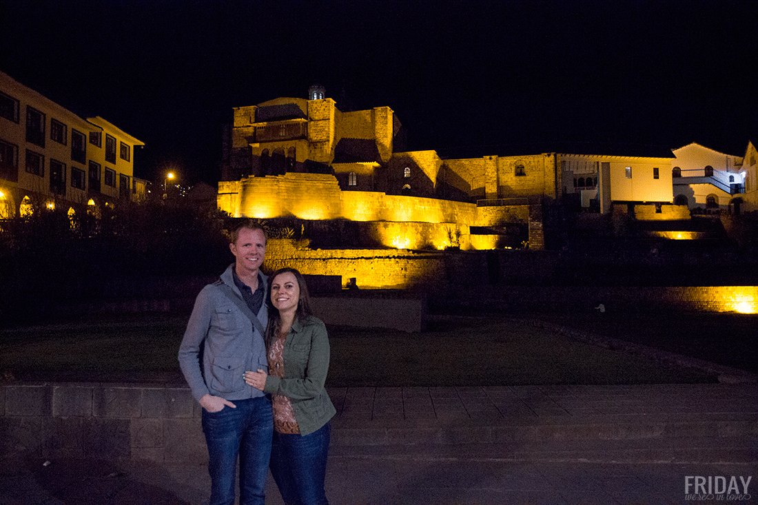 Cusco Peru Fortress at Night