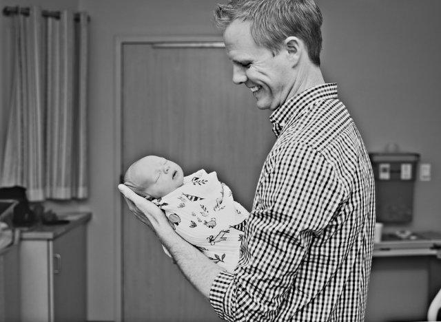 Precious Newborn Hospital Photo Session: Proud Father