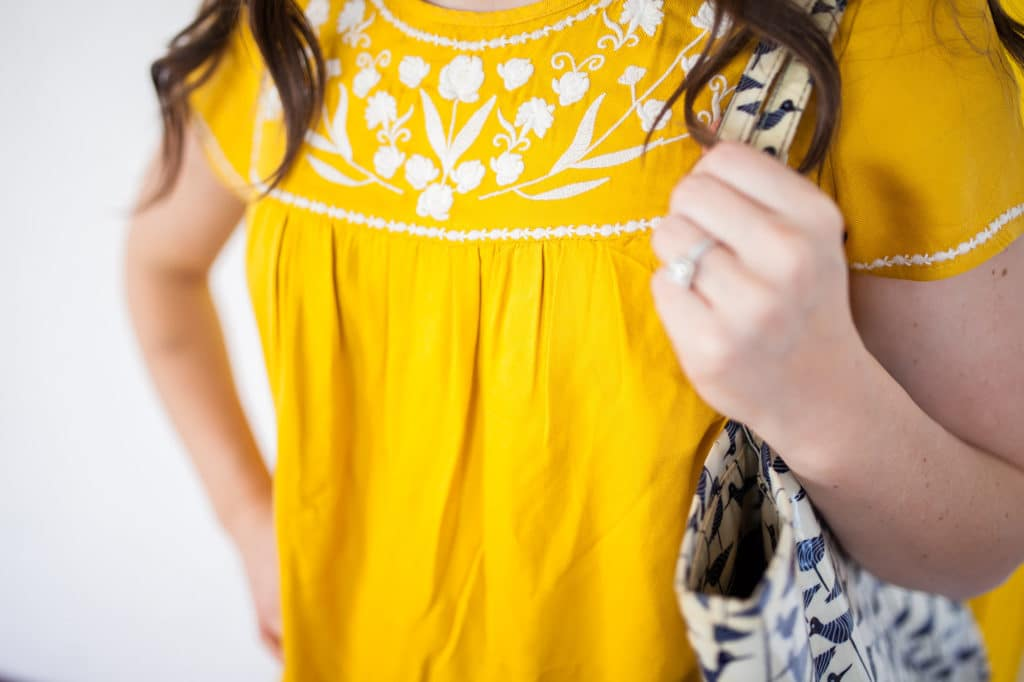 Yellow Mexican Embroidery Dress