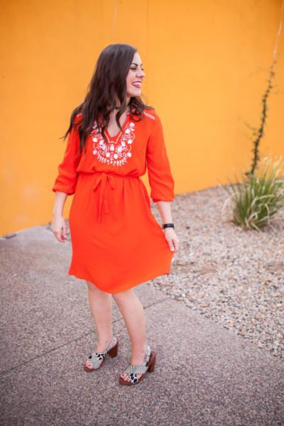 Orange embroidered dress- universally flattering and under $30, perfect spring fashion look that will take you right into summer fashion!