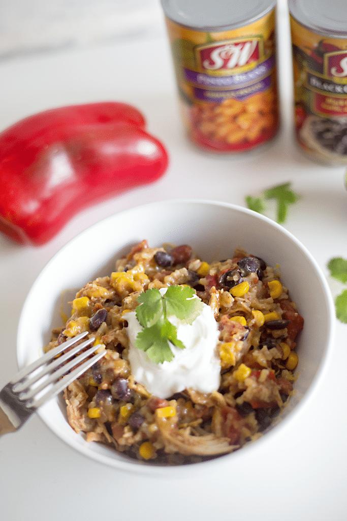 Crock Pot Chicken Rice and Bean Bowl Recipe.
