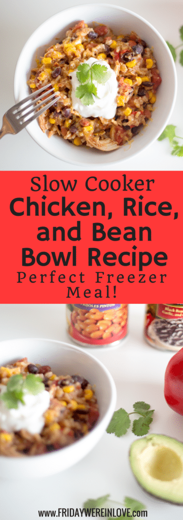Slow Cooker Chicken Rice and Bean Bowl Recipe: Easy chicken dump recipe!
